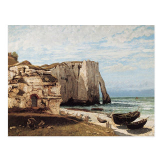Gustave Courbet - The cliffs at etretat after the Postcard