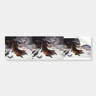 Gustave Courbet- The Fox in the Snow Car Bumper Sticker