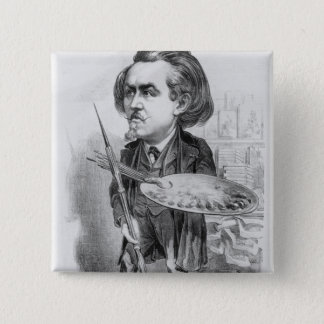 Gustave Dore (1832-83), caricature from 'Le Boulev Pinback Button