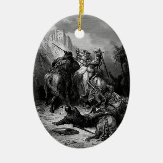 Gustave Dore: A Heroine Florine of Burgundy Double-Sided Oval Ceramic Christmas Ornament