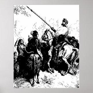 Gustave Dore Engraving Don Quixote Illustration Poster