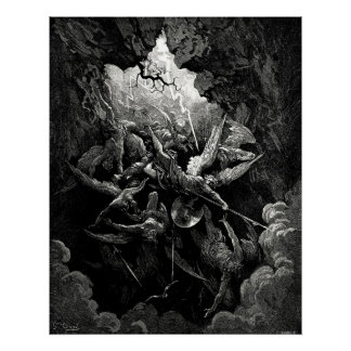 Gustave Doré Milton's Paradise Lost Hell Engraving Poster