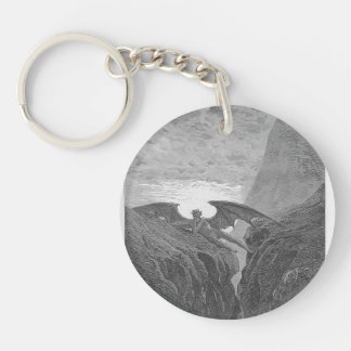Gustave Dore:'Now Night her Course began..' Single-Sided Round Acrylic Keychain