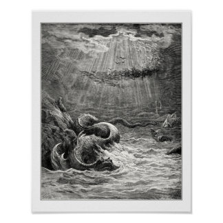 Gustave Dore: reptile with spawn abundant Posters