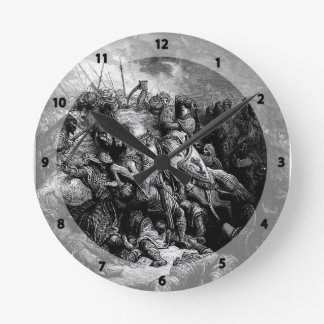 Gustave Dore: Richard I in battle at Arsuf in 1191 Round Wallclock