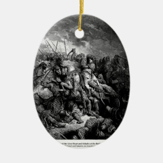 Gustave Dore: Richard I in battle at Arsuf in 1191 Christmas Tree Ornaments