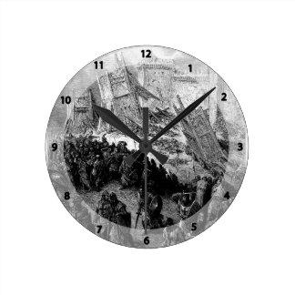 Gustave Dore: Second assault of Jerusalem Round Wallclocks