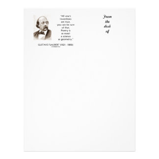 Gustave Flaubert Inventions True Poetry Science Letterhead