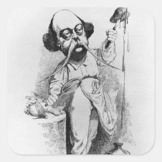 Gustave Flaubert que diseca a señora Bovary Pegatinas Cuadradas