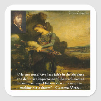 Gustave Moreau Orpheus & Quote Gifts & Tees Square Stickers
