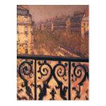 Gustavo Caillebotte- un balcón en París Postal