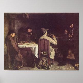 Gustavo Courbet- después de la cena en Ornans Poster