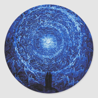 Gustavo Dore los pegatinas (azules) del rosa Pegatina Redonda