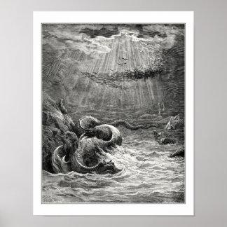 Gustavo Dore: reptil con la freza abundante Póster