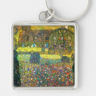 Gustavo Klimt: Casa de campo en el Attersee Llavero Cuadrado Plateado
