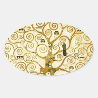 Gustavo Klimt el árbol del arte Nouveau de la vida Calcomania De Oval