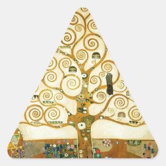 Gustavo Klimt el árbol del arte Nouveau de la vida Pegatinas Trianguloes