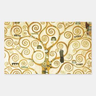 Gustavo Klimt el árbol del arte Nouveau de la vida Rectangular Pegatinas