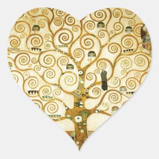 Gustavo Klimt el árbol del arte Nouveau de la vida Calcomanía Corazón