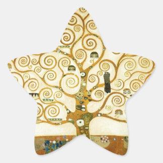 Gustavo Klimt el árbol del arte Nouveau de la vida Calcomanía Forma De Estrella Personalizada
