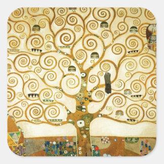 Gustavo Klimt el árbol del arte Nouveau de la vida Calcomanías Cuadradas Personalizadas