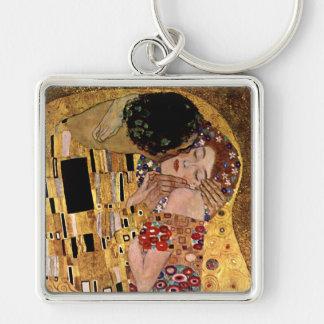 Gustavo Klimt: El beso (detalle) Llavero Cuadrado Plateado