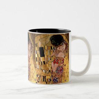 Gustavo Klimt: El beso (detalle) Taza De Dos Tonos