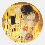 Gustavo Klimt el beso Pegatina Redonda