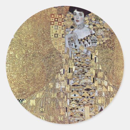 Gustavo Klimt - el beso Pegatina Redonda