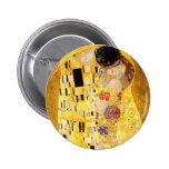 Gustavo Klimt el botón del beso Pin Redondo De 2 Pulgadas