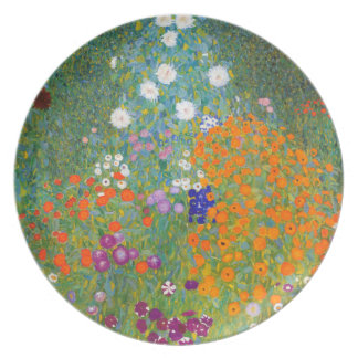 Gustavo Klimt: Jardín de flores Plato De Cena