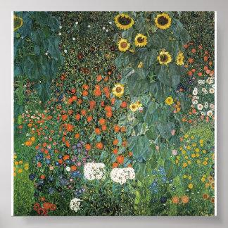 Gustavo Klimt - jardín de la granja con los giraso Póster