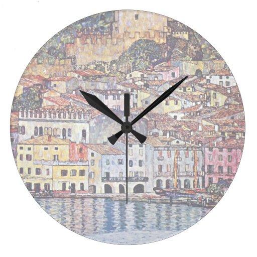 Gustavo Klimt - Malcesine en el lago Garda Reloj Redondo Grande