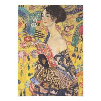 """Gustavo Klimt - mujer con la fan Invitación 5"""" X 7"""""""