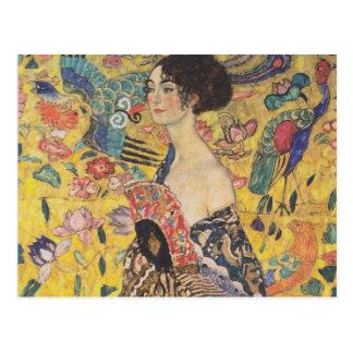 Gustavo Klimt - mujer con la fan Postal
