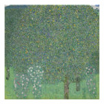 Gustavo Klimt - Rosebushes debajo de los árboles Póster
