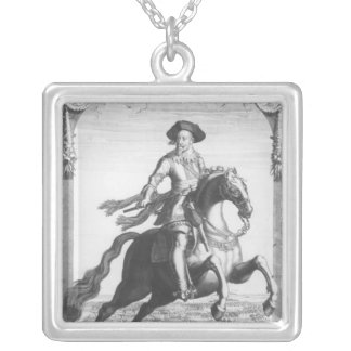 Gustavus Adolphus II, King of Sweden, on Square Pendant Necklace