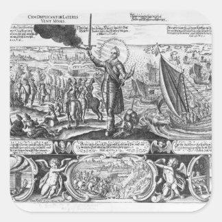 Gustavus Adolphus landing at Stralsund in 1630 Square Sticker