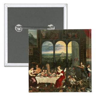 Gusto, audiencia y tacto, 1618 pin cuadrada 5 cm