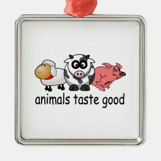 Gusto de los animales bueno - diseño divertido de adorno navideño cuadrado de metal