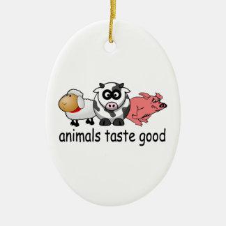 Gusto de los animales bueno - diseño divertido de adorno navideño ovalado de cerámica