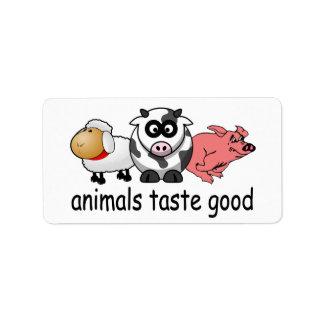 Gusto de los animales bueno - diseño divertido de  etiqueta de dirección