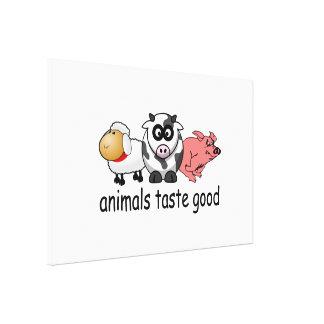 Gusto de los animales bueno - diseño divertido de impresión en lienzo estirada