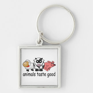 Gusto de los animales bueno - diseño divertido de llavero cuadrado plateado