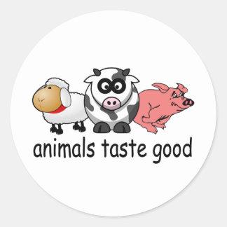 Gusto de los animales bueno - diseño divertido de etiquetas redondas