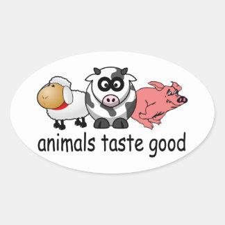 Gusto de los animales bueno - diseño divertido de pegatina ovalada