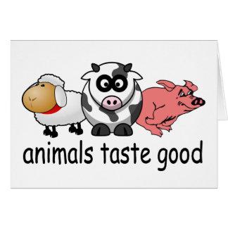 Gusto de los animales bueno - diseño divertido de tarjeta de felicitación