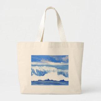 Gusto del mar - paisaje marino azul de las olas oc bolsa lienzo
