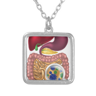 Gut Bacteria Magnifying Glass Square Pendant Necklace