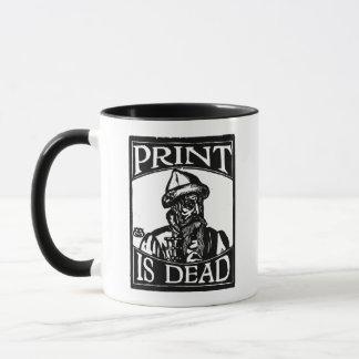 "Gutenberg ""Print is Dead"" from Woodcut Mug"